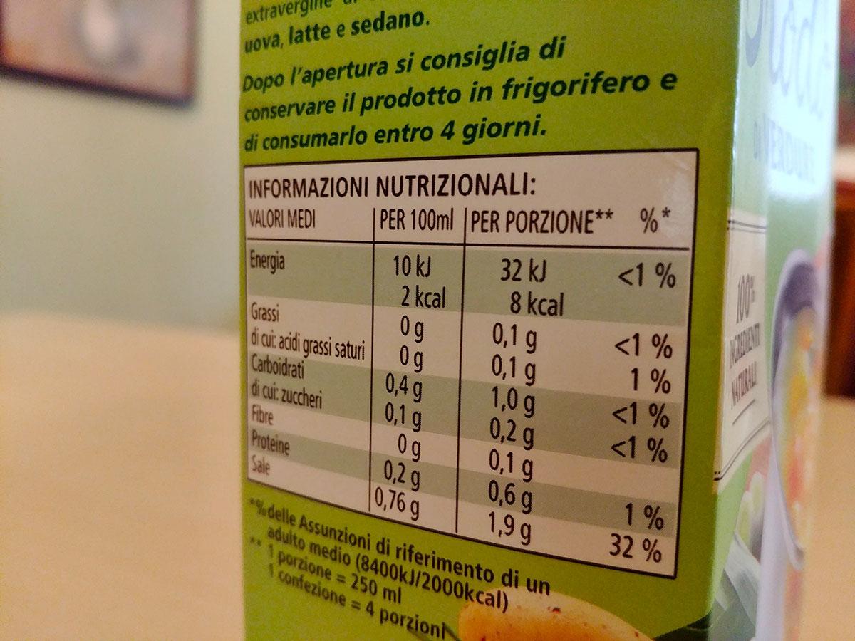 nutrienti tabella nutrizionale