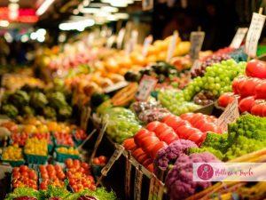 alimenti stagionali, prodotti di stagione al mercato